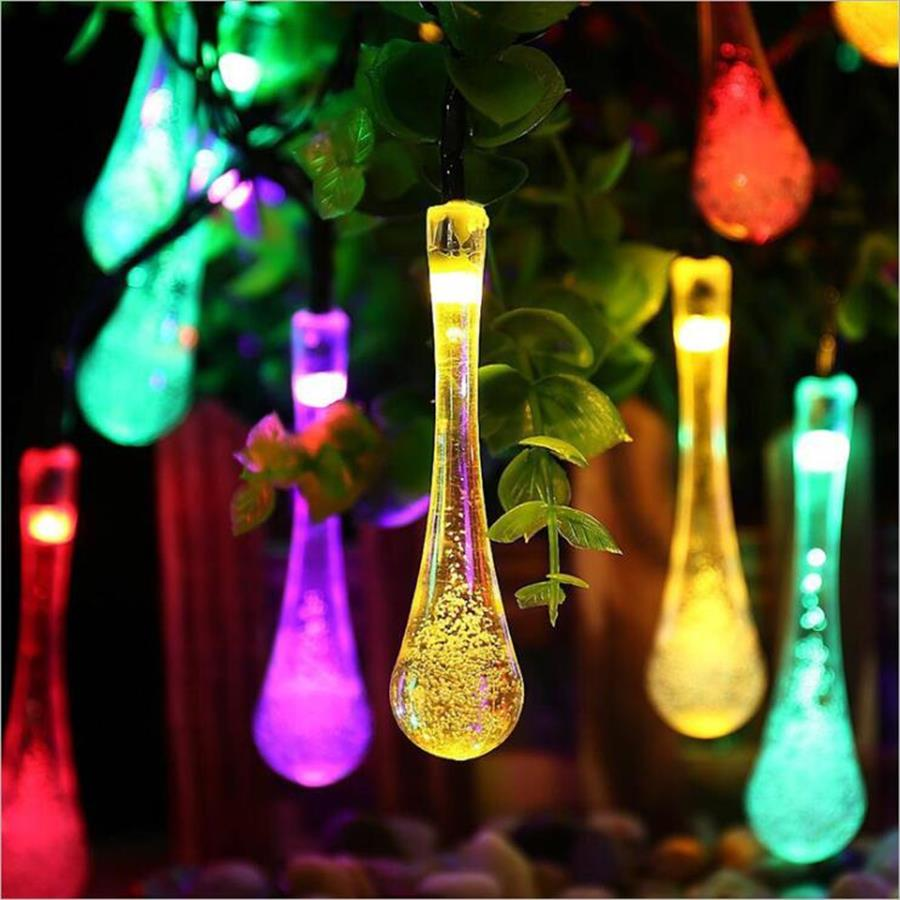 LEDS Raindrop Solar Lawn Lamp Solar Powered LED String Fairy Lights Solar Garlands Garden Christmas Decoration Light For Outdoor