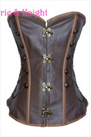 New Sexy Brown Women Gothic Plus Size Slimming Waist Bustier Lace Up Corselet Sequined Leather Overbust Steampunk Corset Tops