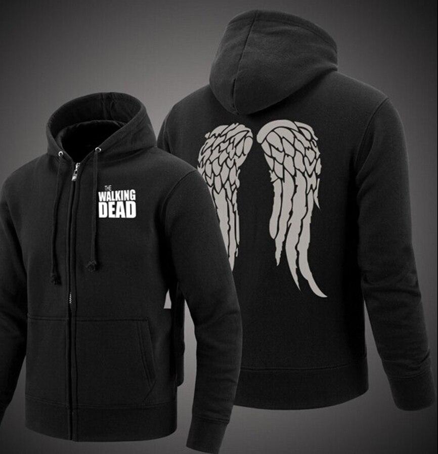 Men hipster fleece The Walking Dead sweatshirts Zombie Daryl Dixon Wings hooded coat 2017 zipper jacket