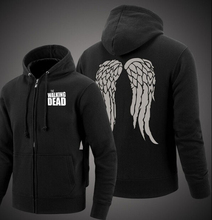 Herren hipster fleece The Walking Dead sweatshirts Zombie Daryl Dixon Wings kapuzen mantel 2017 reißverschluss jacke verdicken kleidung