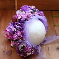 Newborn baby girl Floral bonnet hat Infant Toddler Flower Hair Photography props