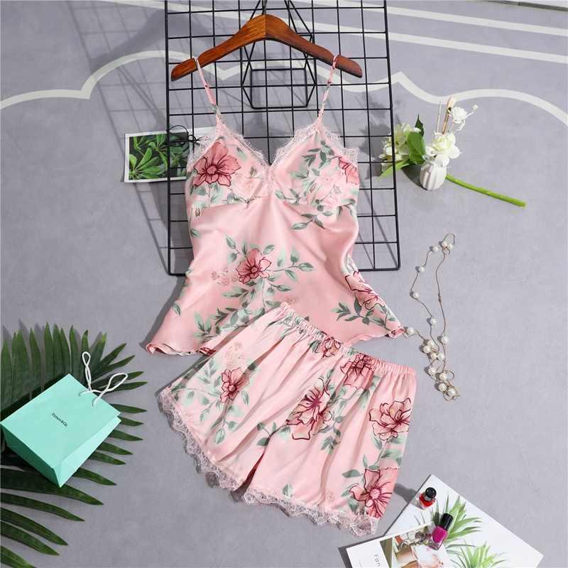 Кружевной пижамный комплект с цветочным принтом, женская одежда для сна с шортами, сексуальное атласное белье шелковая ночная рубашка на тонких бретельках, пижама с кружевами для дома