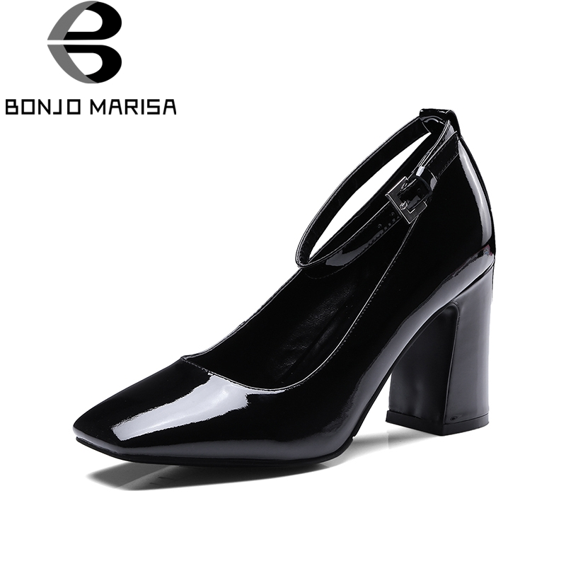 BONJOMARISA 2018 cow leather plus size 34 42 super high heels buckle strap women shoes Woman