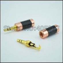 10pcs Hi-End Tellurium Gold plated carbon fiber male connector 3.5MM 3poles male plug