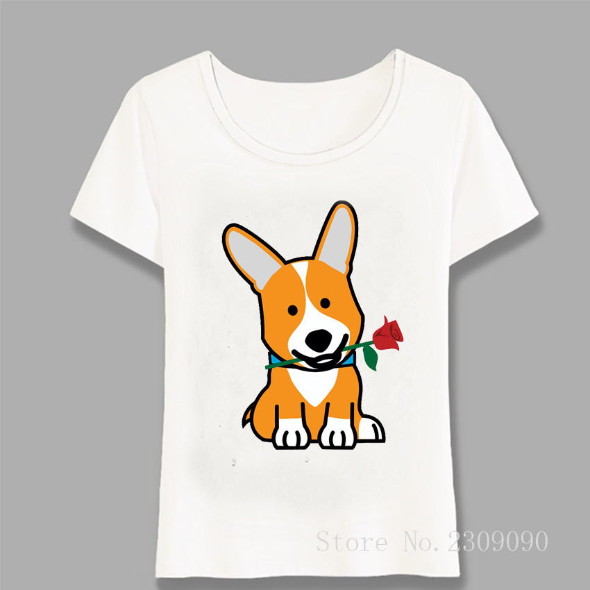 Corgi Dog Puppy Pembroke Welsh Valentine Rose Maiden T-shirt Fashion Women T-shirt Casual Art Ladies Tops Girl Tees Harajuku An Indispensable Sovereign Remedy For Home