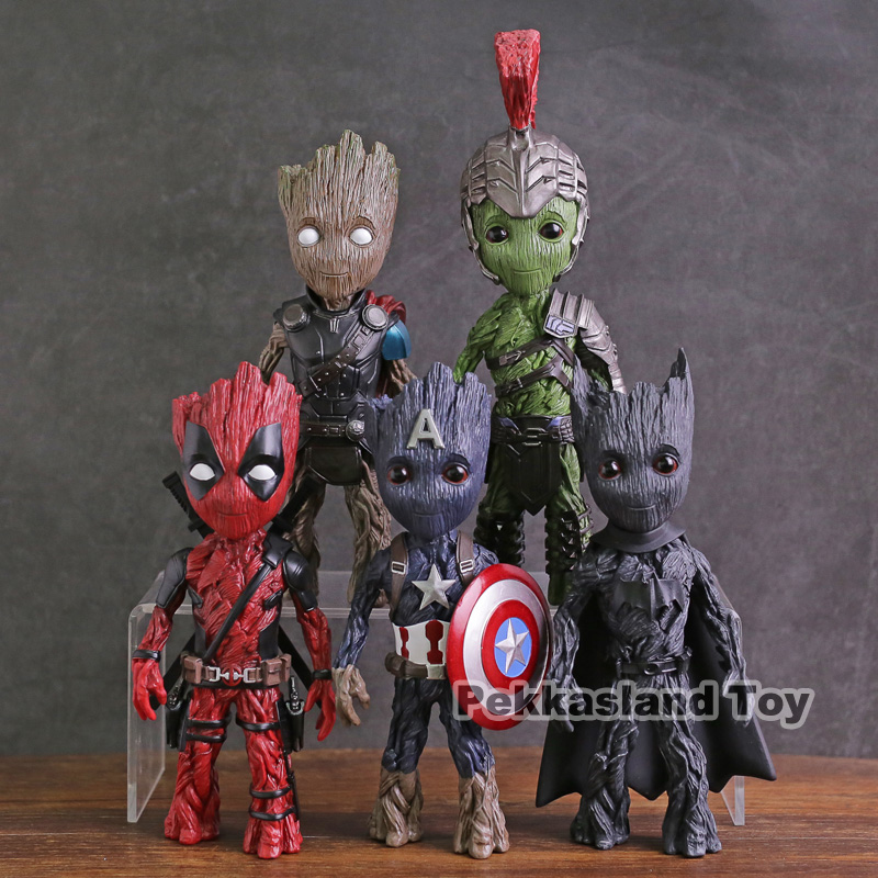 Marvel Guardians of The Galaxy Tree Man Cosplay Captain America Thor Hulk Deadpool Batman PVC Figure Collectible Model Toy цена