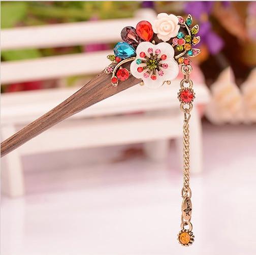 muylinda Shell Flower Wooden Hairpin Sticks Crystal Rhinestone Hair - Mote smykker - Bilde 6