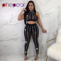 PinePear 2019 Luxury Sparkly Diamond Jumpsuit for Women Sleeveless Turtleneck Sexy See Through Mesh 2 Two Piece Set Clubwear