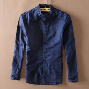 Image 5 - אופנה גברים כותנה פשתן חולצות קלאסי גברים הסיני מנדרינית צווארון ארוך שרוול Slim מוצק לבן לנשימה רך פשתן חולצה XXL