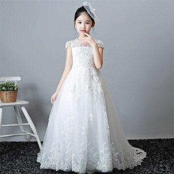2962db5177743f3 2019 г. роскошное детское кружевное платье принцессы с длинным хвостом на день  рождения и свадьбу детское белое вечернее платье для игры на фо.