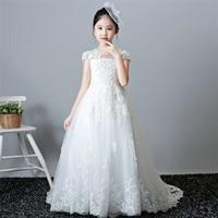 2019Luxury Children Girls Back Hollow Design Birthday Wedding Party Long Tail Princess Lace Dress Kids White Evening Piano Dress