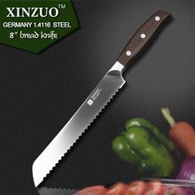 XINZUO high quality 8″ inch bread knife cake knife GERMAN 1.4416 stainless steel kitchen knife cook tool with Pakka wood handle