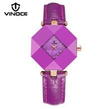 Vinoce impermeable reloj de cerámica femenina cinturón de diamantes de la moda de mesa ocasional Del Relogio marca de lujo reloj de cuarzo caliente modelos v3228