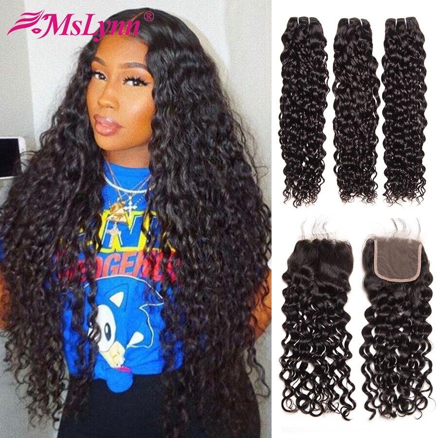 מים גל חבילות עם סגירה ברזילאי שיער Weave חבילות עם סגירת שיער טבעי 3 חבילות עם סגירת Mslynn ללא רמי שיער