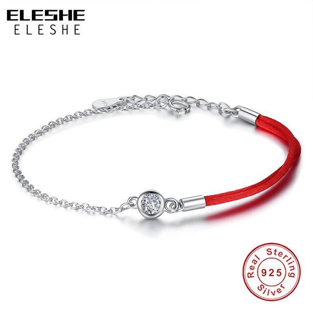 39a3e4fe2957a ELESHE 925 Bracelet en argent Sterling pour femmes cristal rond bracelets  porte-bonheur fil rouge