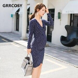 Image 1 - GRRCOSY יולדות V צוואר דוט שמלת סתיו הנקה בינוני ארוך סעיף Slim Fit גל נקודת שמלת בהריון אישה בד