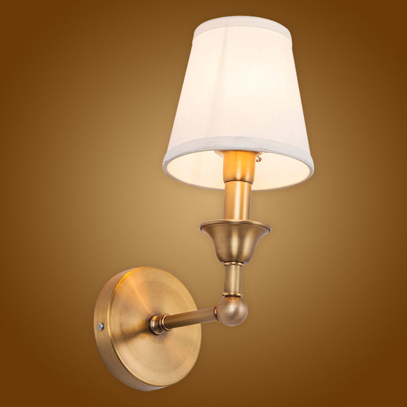 Modern Wall Lamp Real Copper Wall Sconces Fabric Lampshade Bathroom Mirror Bedside Cabinet Fixtures Home Lighting BLW041