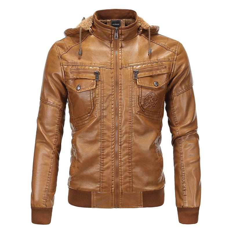 European code font b men s b font hooded plus velvet thick warm PU leather font