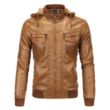 Европейский код мужская с капюшоном плюс бархатные толстые теплые PU кожаная куртка, мода стоять воротник короткий тонкий ретро мотоциклетная куртка