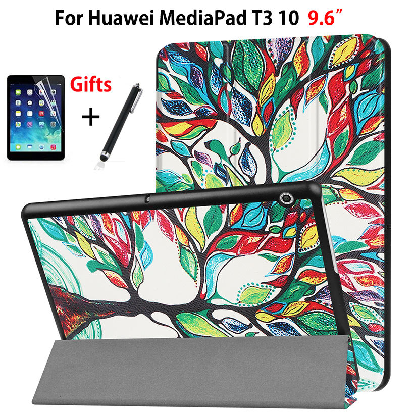 Smart Case For Huawei MediaPad T3 10 AGS-W09 AGS-L09 AGS-L03 9.6 inch Cover Funda Tablet for Honor Play Pad 2 9.6 +Film+Pen case for tablet huawei mediapad t3 10 case funda for huawei t3 10 cover ags l03 silicone shockproof holder protector 9 6 inch