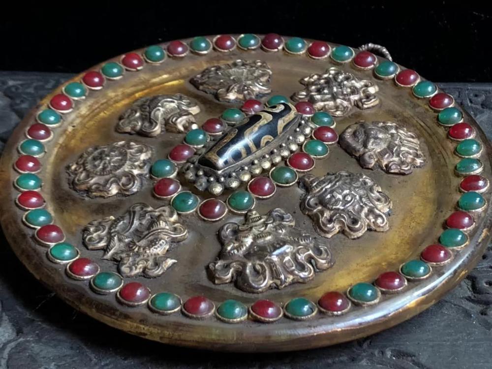 Old Tibetan natural crystals Decorative plate,handmade Inlaid with semi precious stone beads,With as tibetan Dzi beads