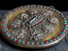 Old Tibetan natural crystals Decorative plate,handmade Inlaid with semi-precious stone beads,With as tibetan Dzi beads