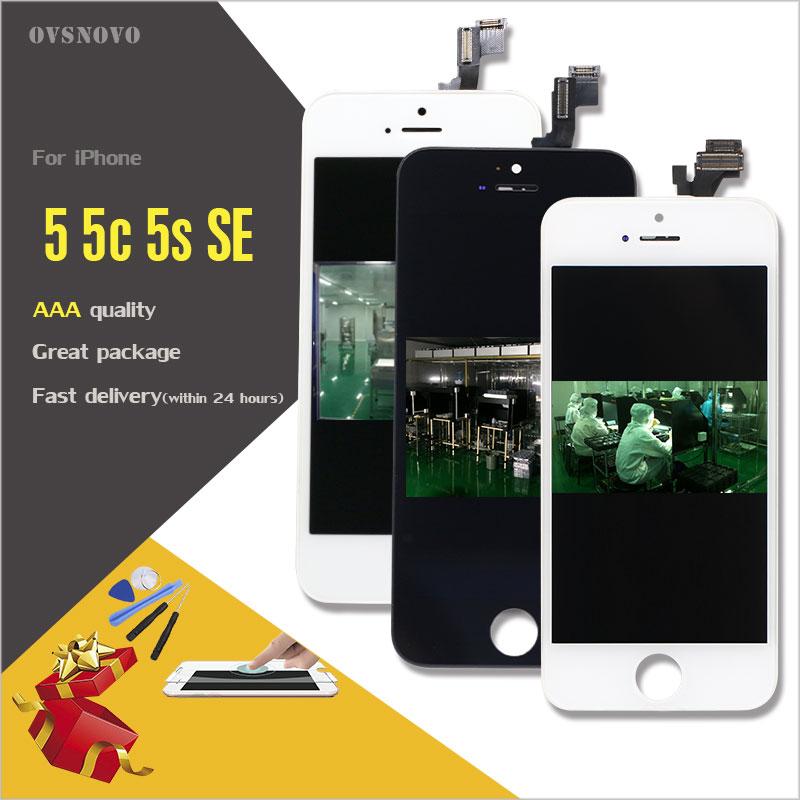 Ovsnovo LCD Pantalla para iPhone 4S 5 5S 5c SE LCD Pantalla de visualización reemplazo del digitizador Asamblea + herramientas abiertas + vidrio Templado