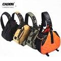 Caden câmera sling ombro cruz sacos orange digital camera case sling lona das mulheres dos homens macio bag para canon nikon sony k1 k2