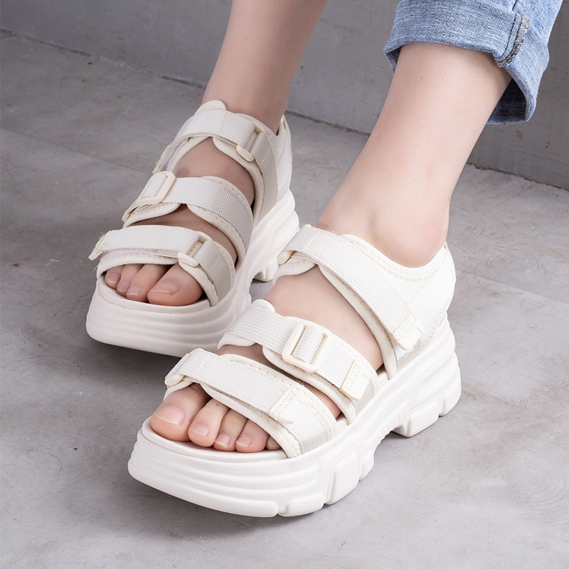 Waterproof Sandals White Wedge-Shoes High-Heels Women Casual Comfort 5cm Climbing