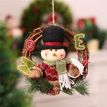 Новогодние товары венки древесины Новогодние товары украшение для дома с Санта Клаусом и снеговиком Grand haing дерево Рождественский подарок Рождество орнамент Navidad 2017