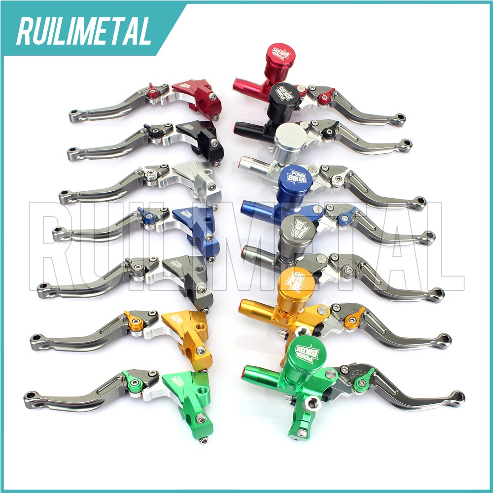 For Honda Kawasaki Suzuki Yamaha 125cc-400cc 7/8 22mm Universal Brake Clutch Pump Master Cylinder Kit Reservoir Levers New Set left 1 25mm universal motorcycle brake clutch master cylinder hydraulic pump lever for suzuki yamaha kawasaki honda