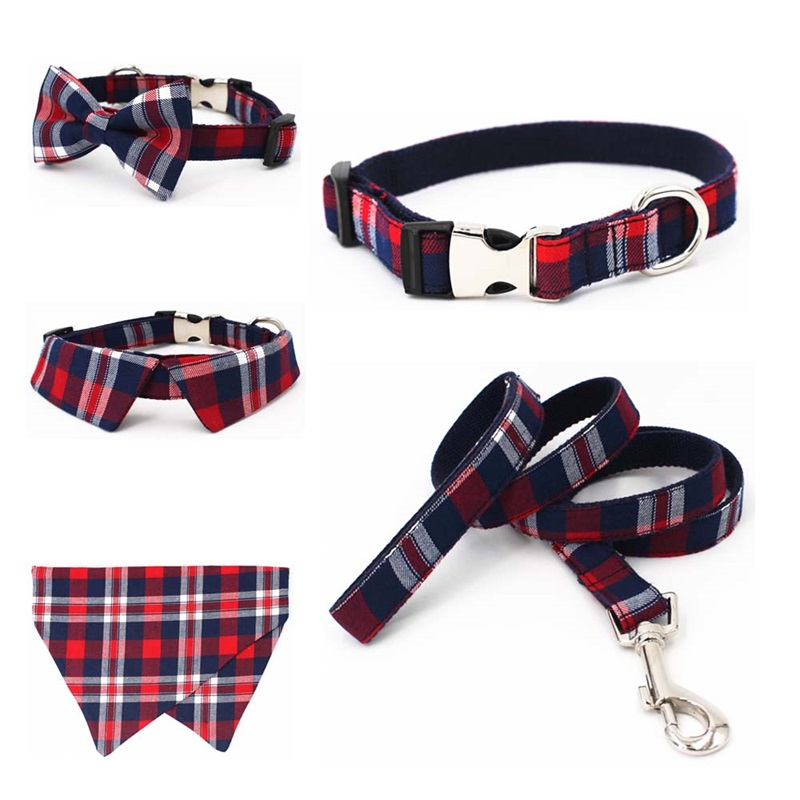 plaid Dog collar pet cat dog shirt collar with bow tie checked dog bandana scarf by