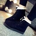 Zapatos de Los Planos de Las Mujeres de Piel de Invierno caliente Nueva Fashiom Plataforma Suela de Goma Gamuza Hembra Mujeres Con Cordones Caliente de la Felpa Zapatos casuales W13DF6868