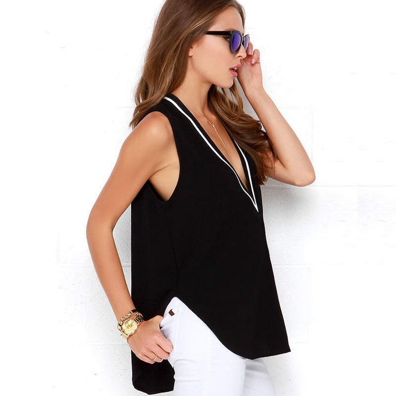 European women's summer style chiffon blouses shirts sexy loose sleeveless top Shirts women V-neck blusas feminina G1192 2