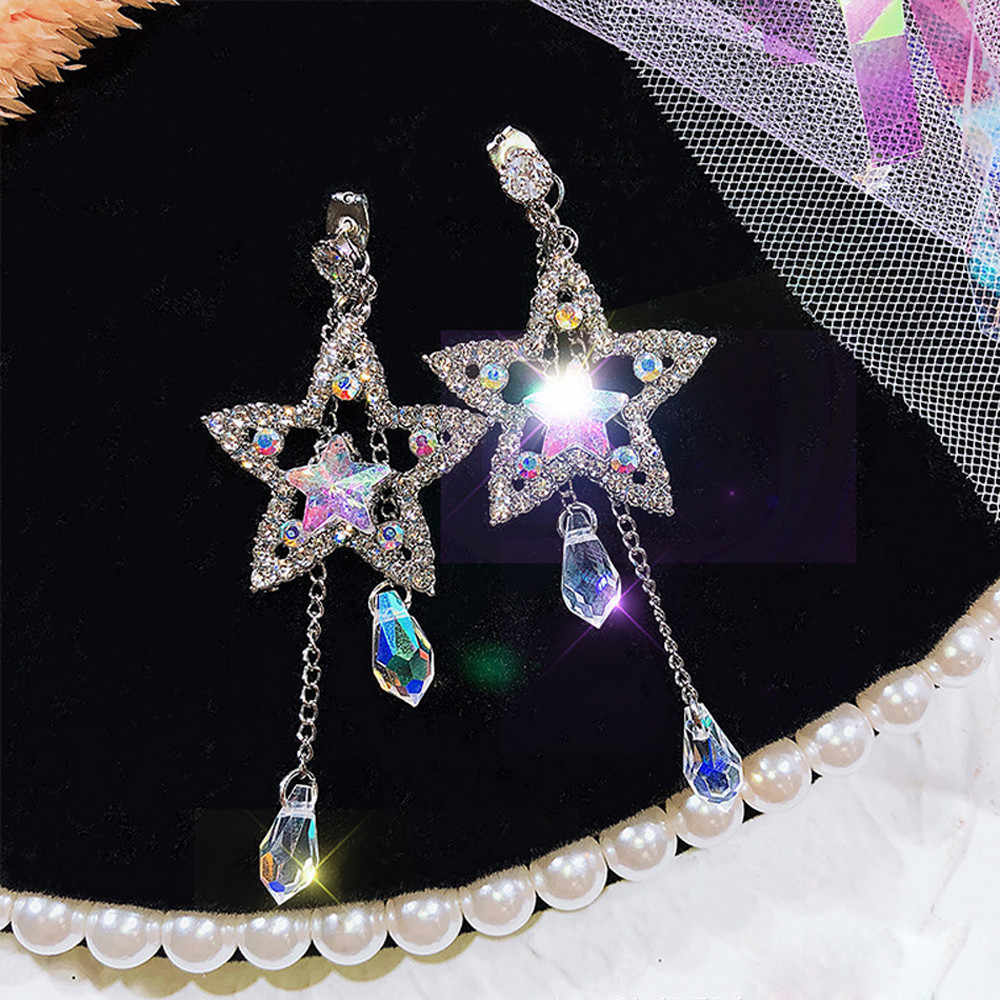 Crystal Long Chain Earrings Dainty Star Round Full Rhinestone Tassel Dangle Earr    10.24