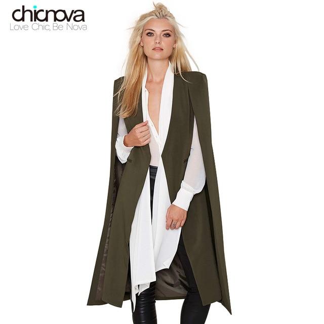 british style open sleeve Cloak Outwears women Trench Coats long tuxedo manteau femme coats FS0052