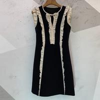 Женские платья, высокое качество, лоскутное платье, черное, белое, с рюшами, женское миди платье с воротником бабочкой, для женщин