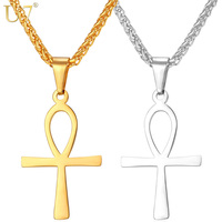 U7 New Hot Life Cross Necklace Stainless Ankh Egyptian Men Jewelry Gold Plated The Key Of