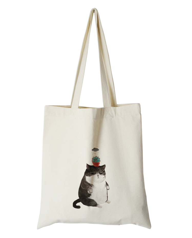 cute cat series canvas custom tote bag customized eco bags custom made shopping bags with logo  Dachshund Shepherd Dog Poodle (4)