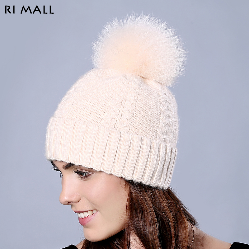 Solid Color Hats for Women with Big Real Fox Fur Pompom Wool Knitted Skullies & Beanies Outdoor Casual Cap Winter Beanies 2017 classic russian women super good quality wool beanies hats with real fur ball knit caps solid skullies casual cap
