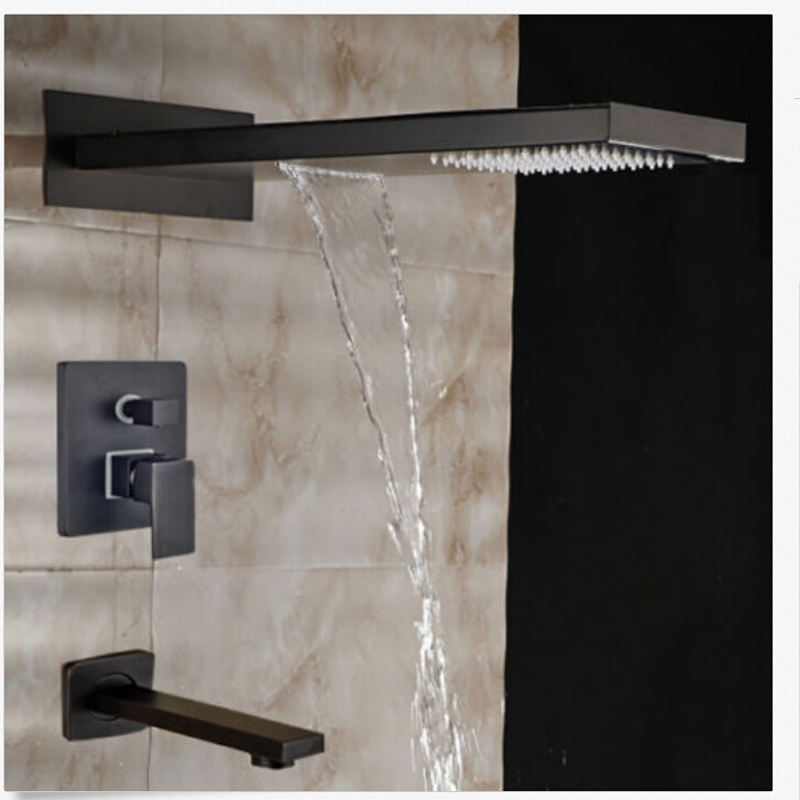 Wholesale And Retail Modern 3 Ways Shower Valve Mixer Oil Rubbed Bronze Square Waterfall Rainfall Shower Head Tub Spout Tap