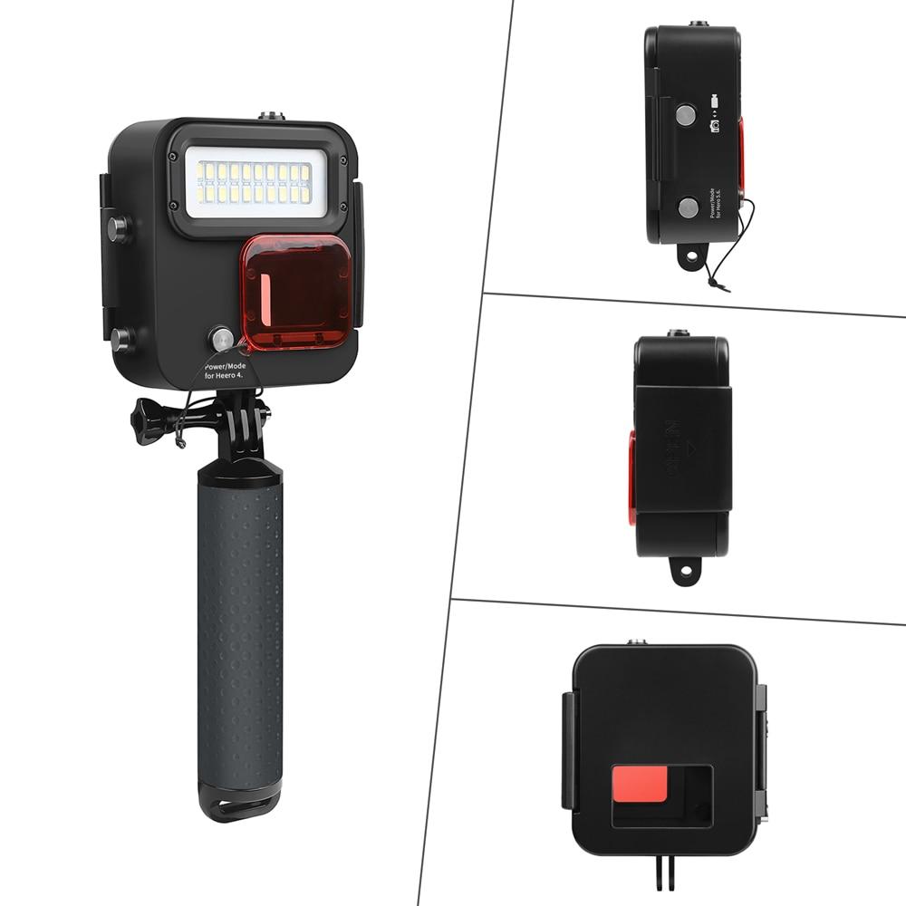 SHOOT 1000LM buceo luz LED funda impermeable para GoPro Hero 7 6 5 negro 4 3 + Cámara de Acción plateada con accesorio para Go Pro 6 5 - 3