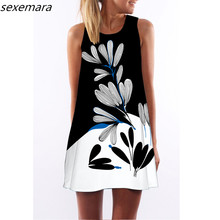 23 Types 2017 spring summer Bohemia new women's clothing beach dress sleeveless o-Neck print loose above knee mini vestidos