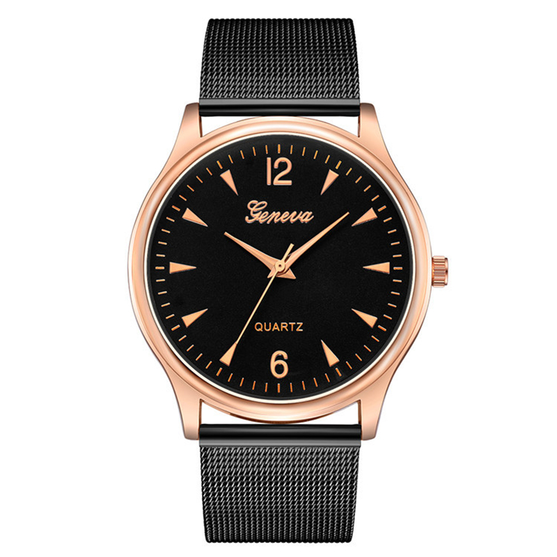 Watch Men 2019 New Fashion Geneva Men Business Clock Alloy Watchband Rose Gold Dial Quartz Wristwatches Montre Homme