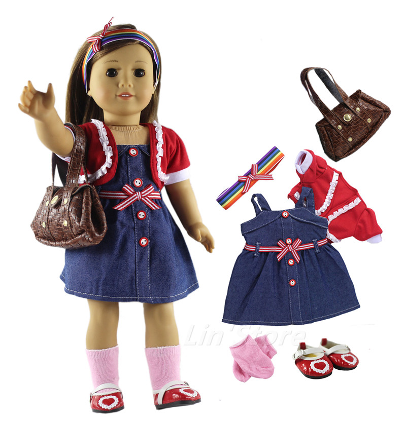 Buy 6in1 Set Doll Clothes Outfit Clothes Bag Sock Shoes Fashion Casual Wear For