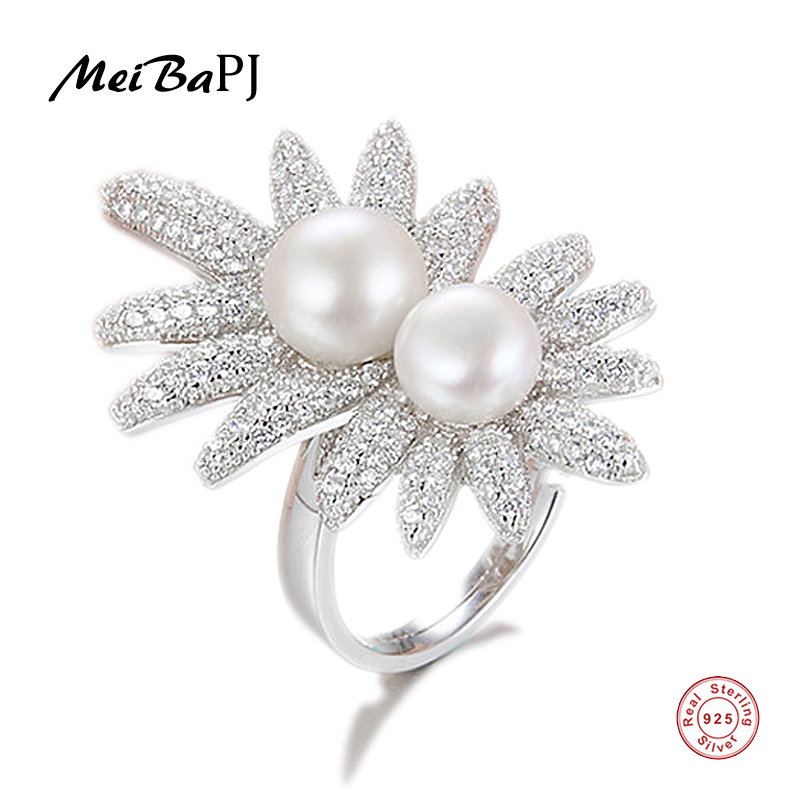 [MeiBaPJ] Luxurious Fashion 925 Sterling Silver Finger Ring Natural Freshwater Pearl Ring for Women Fine Charm Jewelry Gift Box 25 style 925 sterling silver ring charm princess crown flower heart silver charms finger ring for women jewelry