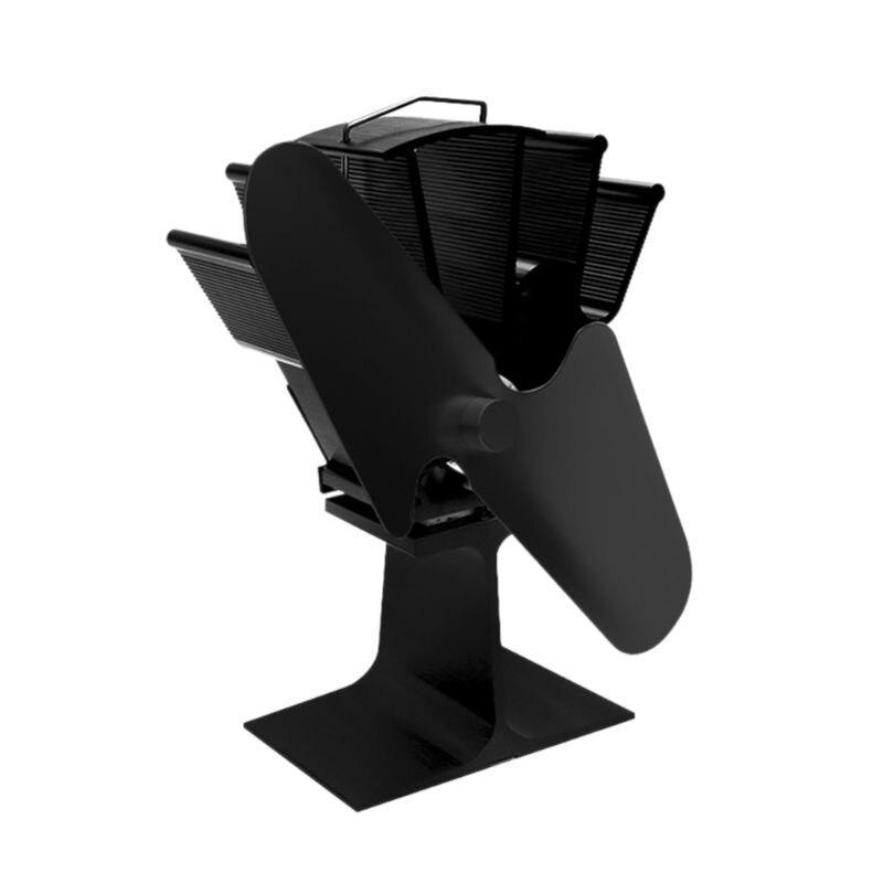 2 Blades Heat Self-Powered Stove Top Fan Aluminium Silent Eco-Friendly Fuel Saving For Woo