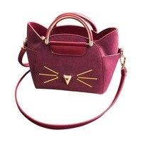 2018 Leather Women Handbag Tote Women Cross Body Bag Unique Cat Costume Shopper Bag Shoulder Messenger