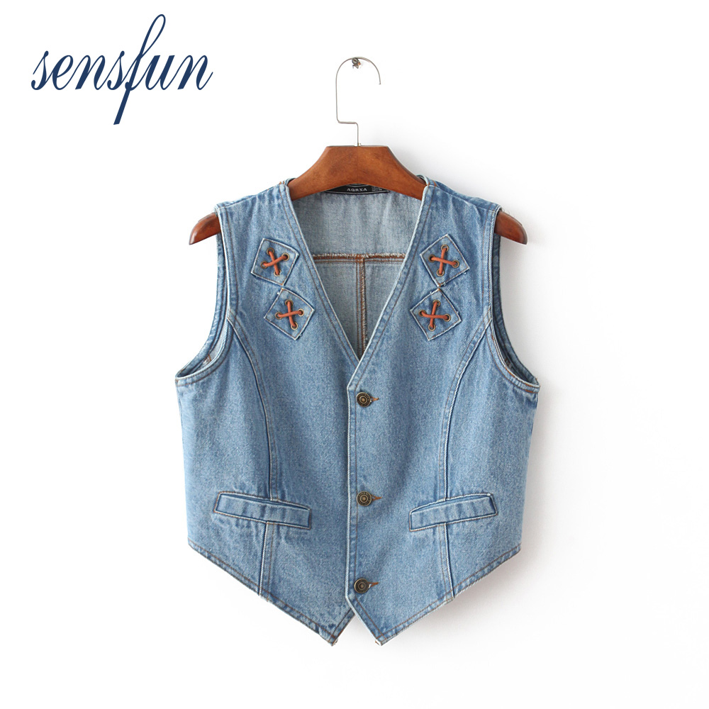 Sensfun New Arrival Demin Vest Women Female Slim V neck Sleeveless Outwear Fashion Cool Preppy Style Girl Jacket demin vest
