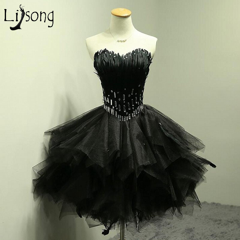 Sexy Black Feather Short   Cocktail     Dresses   2017 Crystal Puffy Lady Formal Party   Dress   Off Shoulder Prom Gowns Robe De   Cocktail